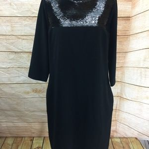 Liz Claiborne Black Dress with Sequins Size 8